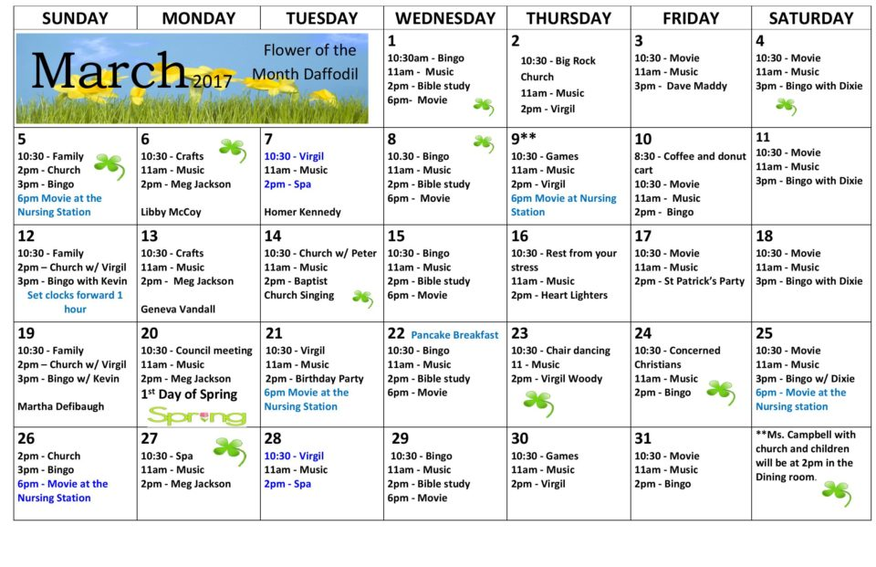 Calendar Woodlands : Activity calendar march woodlands health rehab
