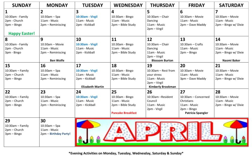 Woodlands Health  Rehab Center  Activity Calendar  April